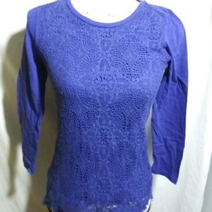 J Crew Blue lace front long sleeve top